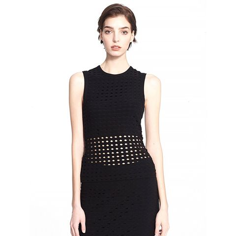 Perforated Crewneck Tank, Black