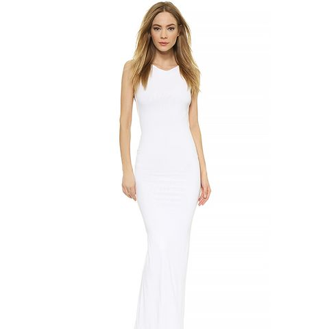 Sleeveless Jersey Gown, White