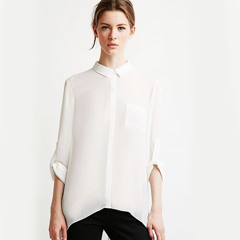Sheer Crepe Pocket Shirt, Ivory