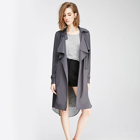 Belted Crepe Trench Coat, Grey