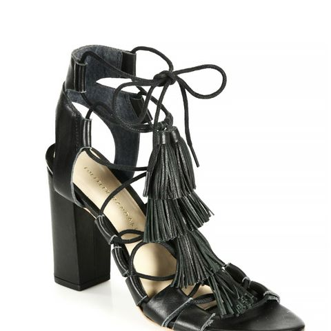 Tasseled Lace-Up Leather Sandals