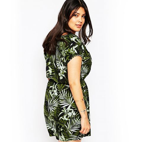 New Look Inspire Palm Print Shirt Dress