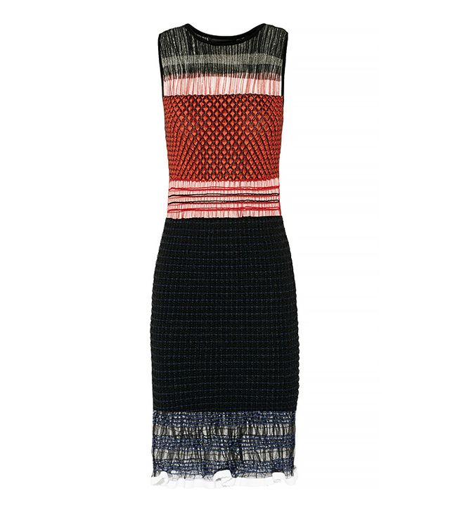 Alexander Wang Smocked Tulle and Stretch-Knit Dress
