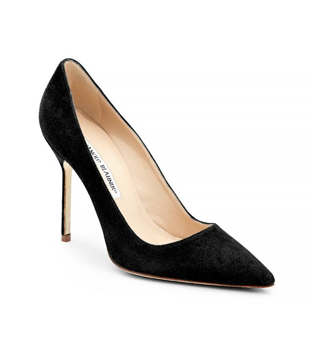Manolo Blahnik BB Suede Point-Toe Pumps, Black
