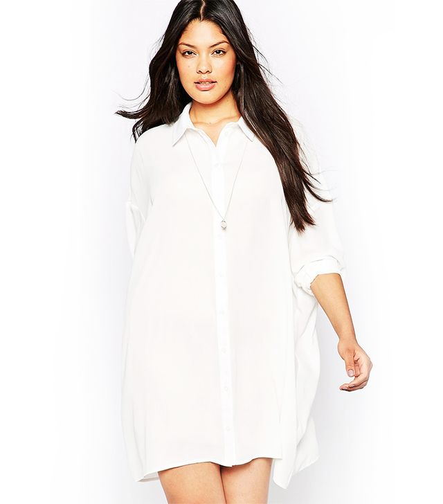 ASOS Curve Oversized Longline Blouse, White