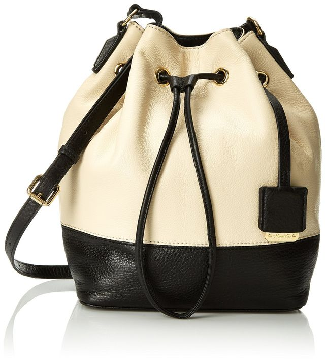 Kenneth Cole Nevins Street Small Leather Bucket Bag, Bone/Black