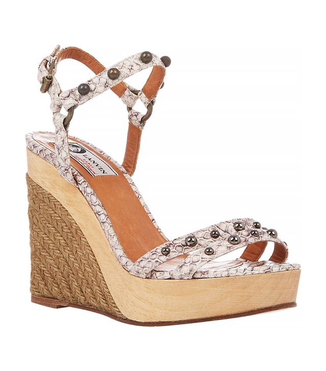 Lanvin Snake-Stamped Platform-Wedge Sandals
