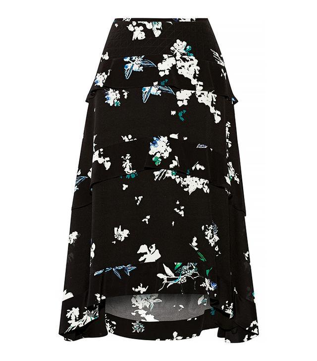 Proenza Schouler Tiered Floral-Print Silk-Georgette Skirt