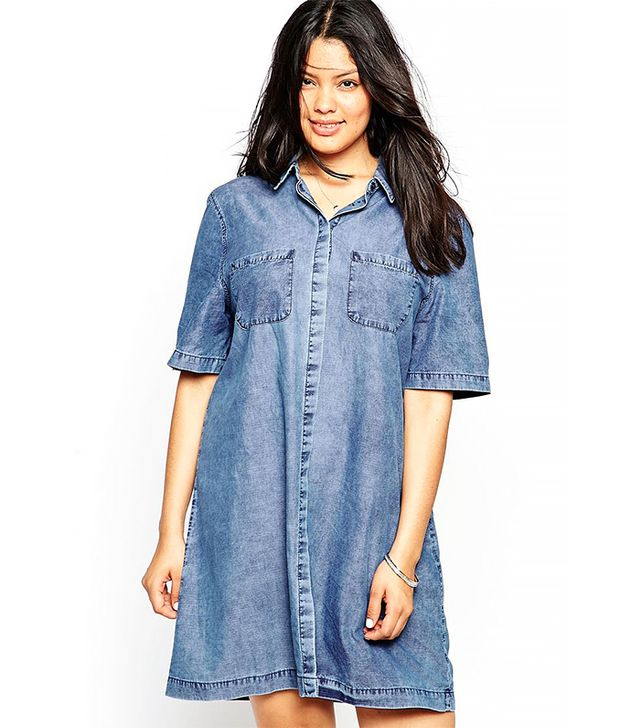 ASOS Curve Denim Shirt Dress With Patch Pockets in Light Mid Wash