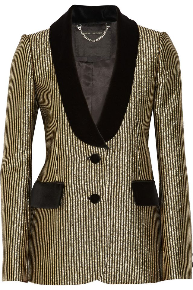 Marc Jacobs Velvet-Trimed Metallic Jacquard Blazer