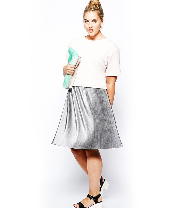 ASOS Curve Pleated Midi Skirt, Metallic