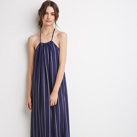 Stripe Halter Maxi Dress
