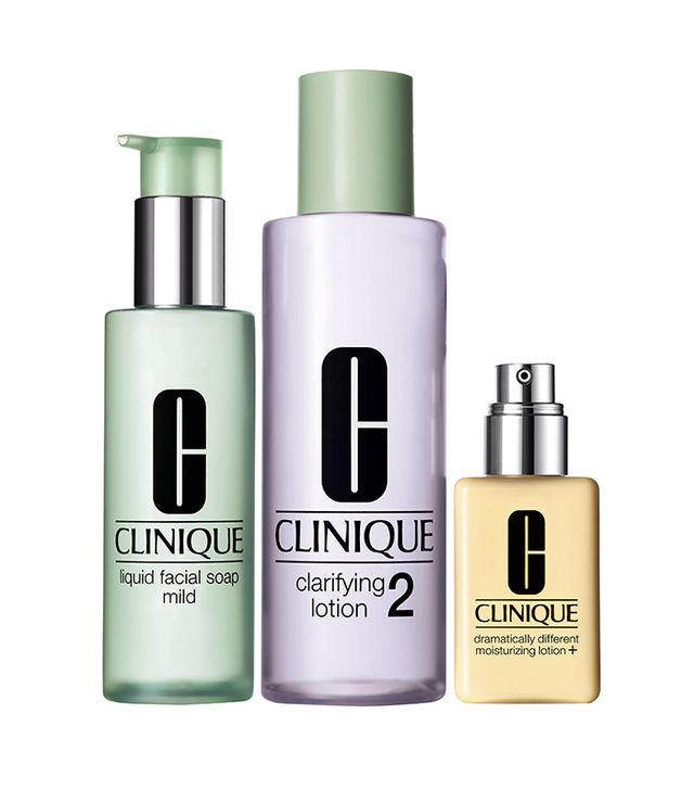 Clinique 3-Step Kit With Liquid Facial Soap - Dry Combination Skin Types
