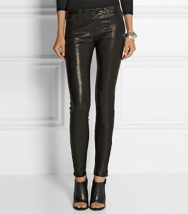 J Brand L8001 Stretch-Leather Skinny Pants