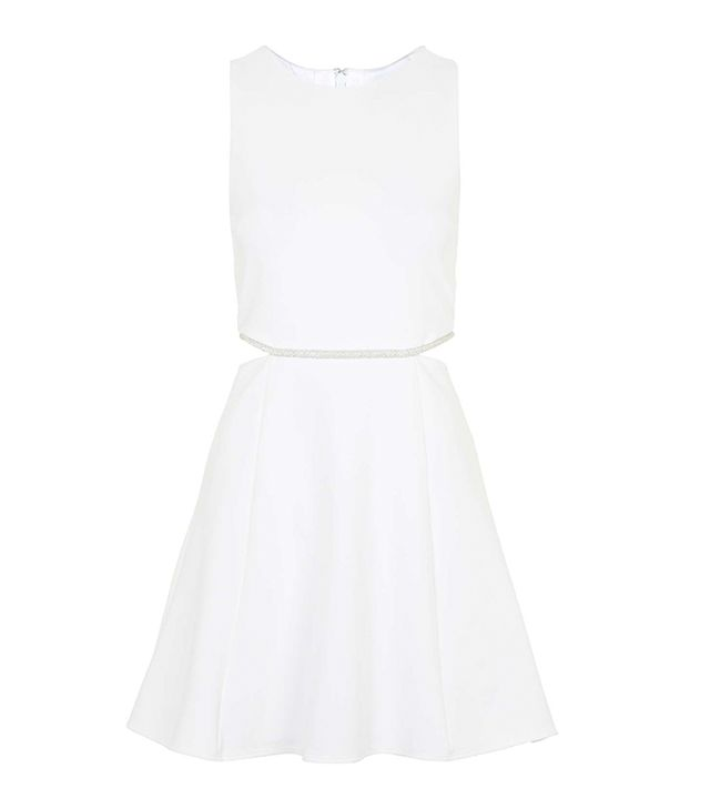 Topshop Embellished Trim Skater Dress