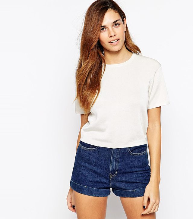 Warehouse Compact Stitch Crop T-Shirt