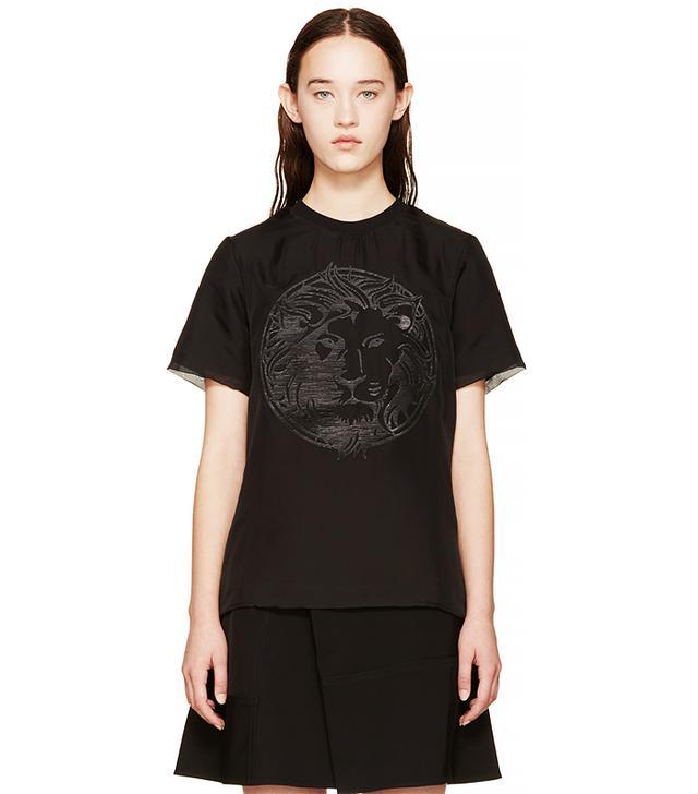 Versus Black Chiffon Logo T-Shirt
