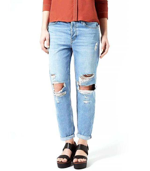 Topshop Petite Moto Mid-Stone Hayden Jeans