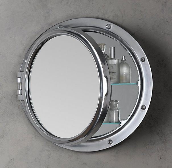 Restoration Hardware Royal Naval Porthole Mirrored Medicine Cabinet