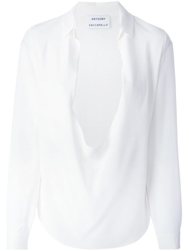 Anthony Vacarello Plunging Neck Draped Blouse