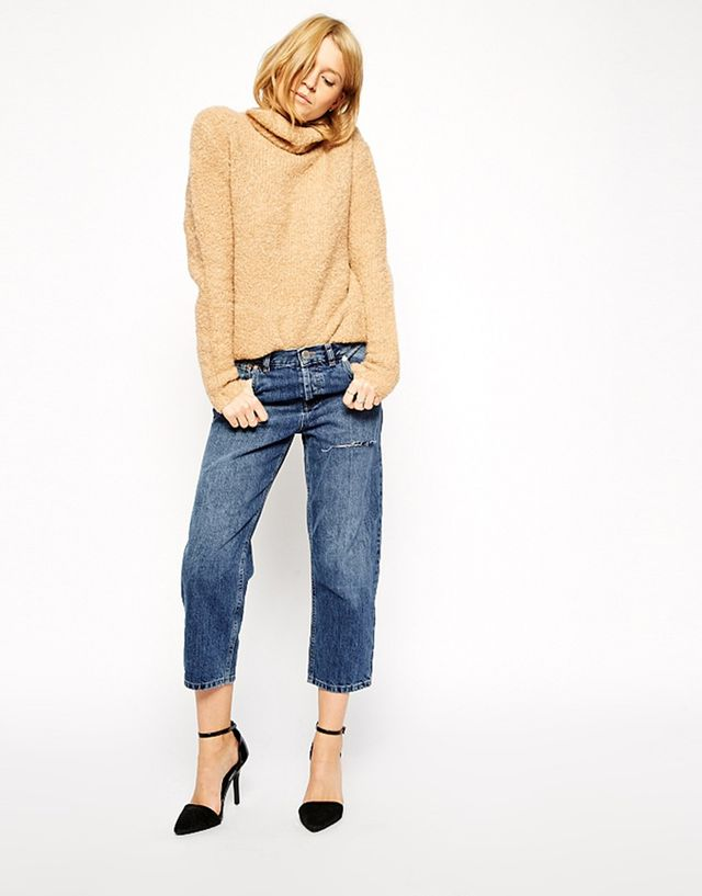ASOS Maddox Parallel Crop Jeans With Thigh Rip, Maritime Wash