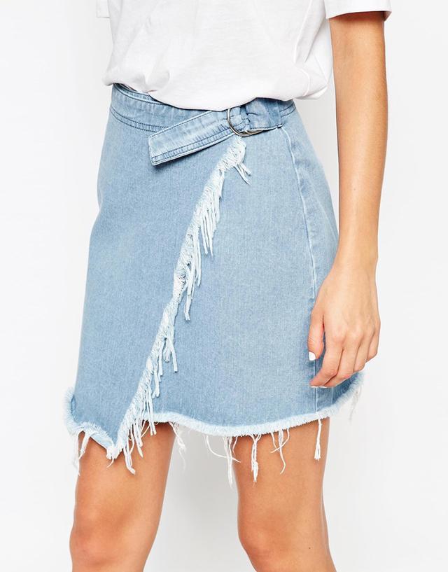 ASOS Denim Raw Edge Asymmetric Wrap Mini Skirt