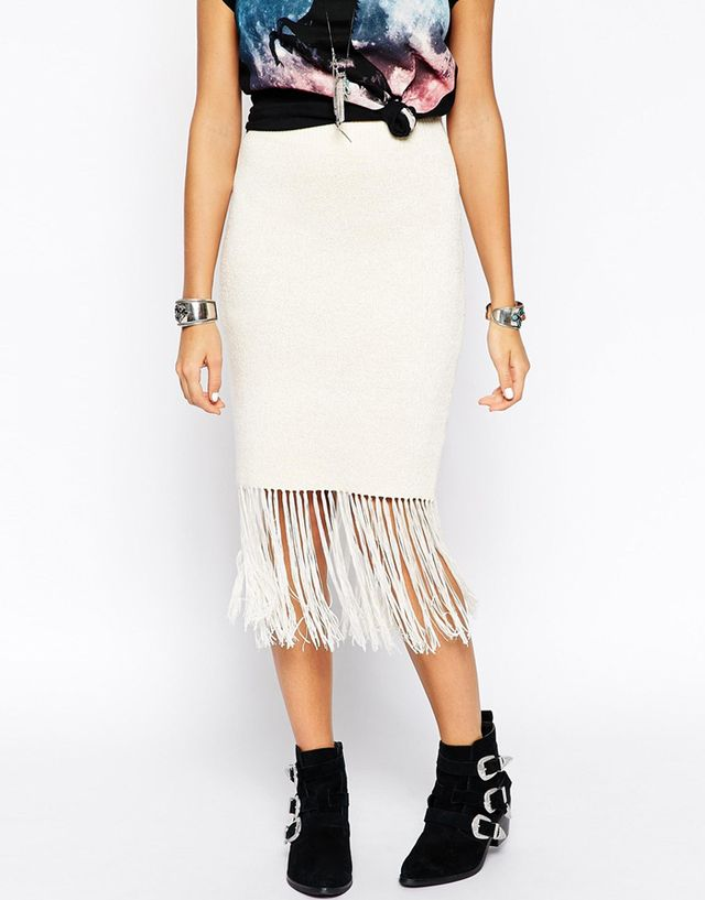ASOS Pencil Skirt in Knit With Fringing