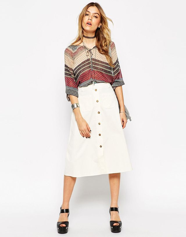 ASOS Reclaimed Vintage Button Through Midi Skirt, Baby Cord