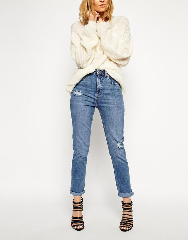 ASOS Farleigh High Waist Slim Mum Jeans in Vintage Wash With Thigh Rip