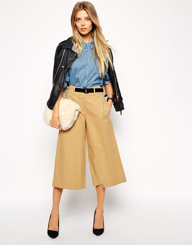 ASOS Longline Culotte With Belt and Buckle Detail