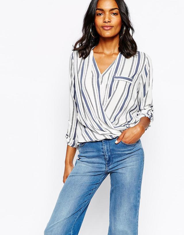River Island Stripe Wrap Front Shirt