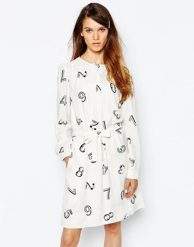 See by Chloé Number Print Shirt Dress, Black/White