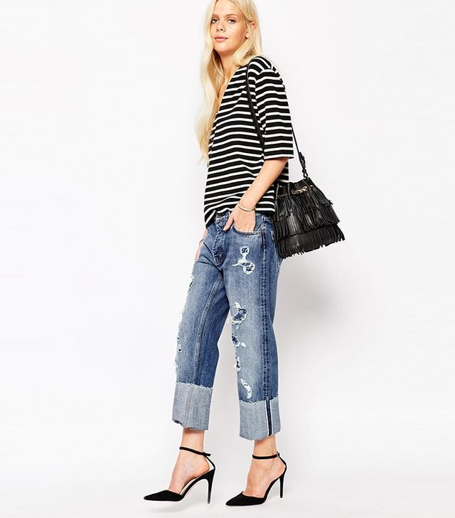 MiH Jeans Phoebe Boyfriend Jeans With All Over Rips