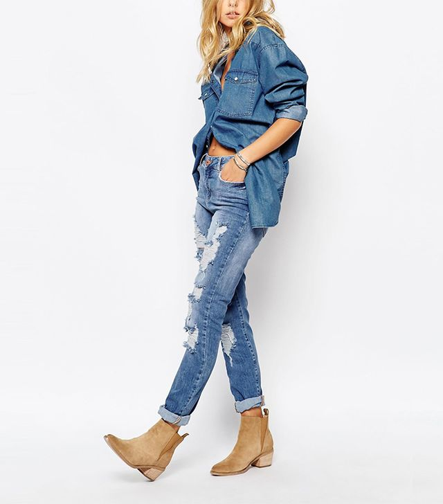 Noisy May Kim Loose Boyfriend Jean With Destroyed Detail