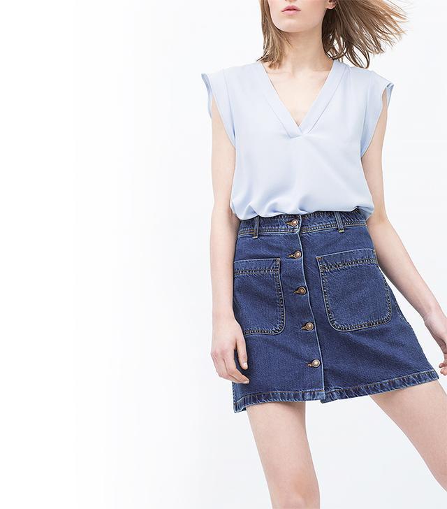 Zara Denim Skirt with Pockets