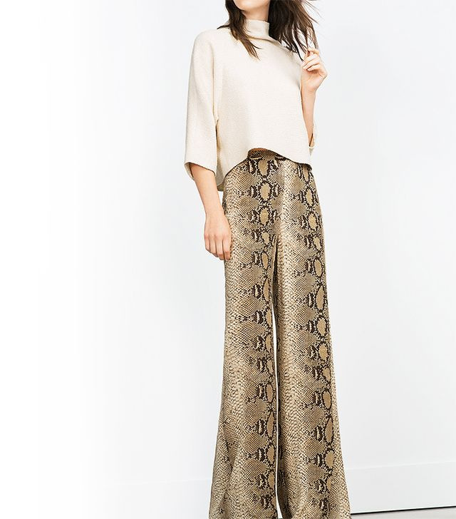 Zara Printed Wide Leg Trousers