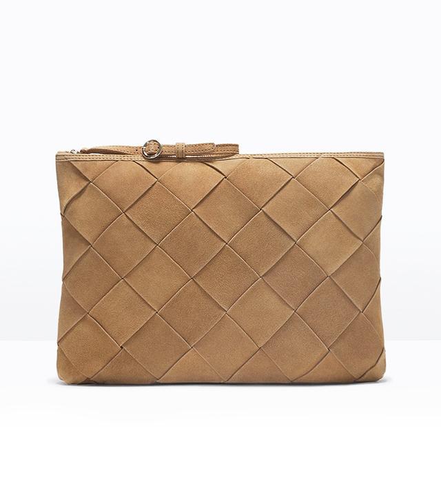 Zara Braided Suede Envelope Clutch