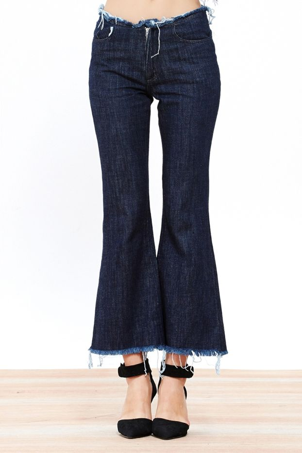 A Common Space Frayed Denim Flares