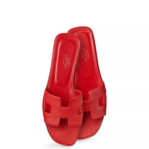Calfskin Logo Sandal, Red
