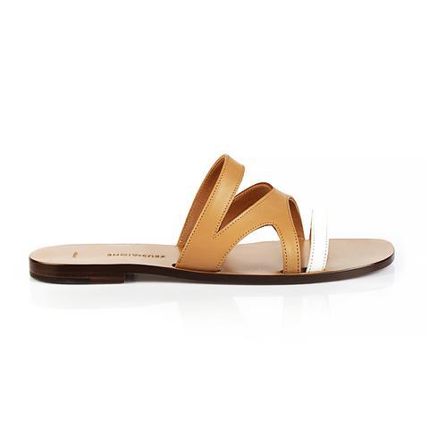 Myrtle Sandal, Tan/White