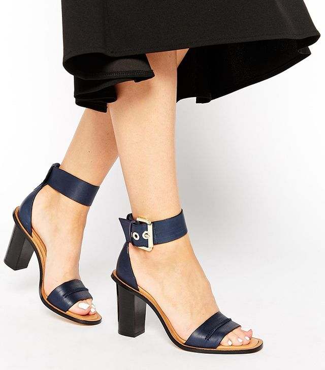 Whistles Senna Navy Two Part Leather Sandals