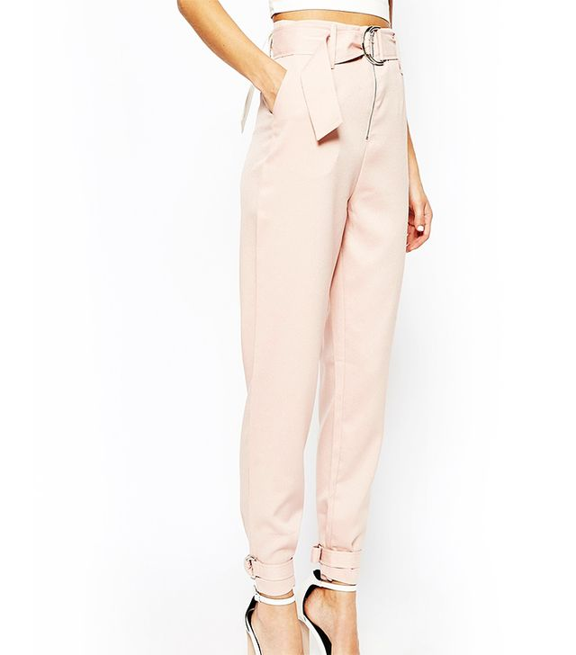 Lavish Alice Tapered Leg Pants With D-Ring Belt & Cuff