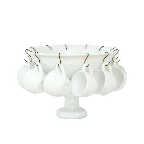 The Concord Milk-Glass Punch Bowl Set