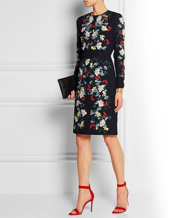 Erdem Evita Printed Matelasse Dress