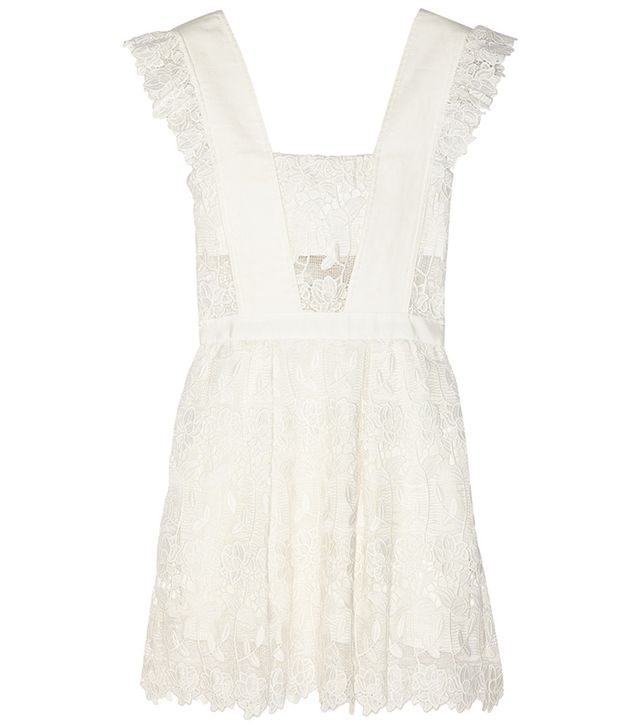 Self-Portrait Ruffled Guipure Lace Mini Dress