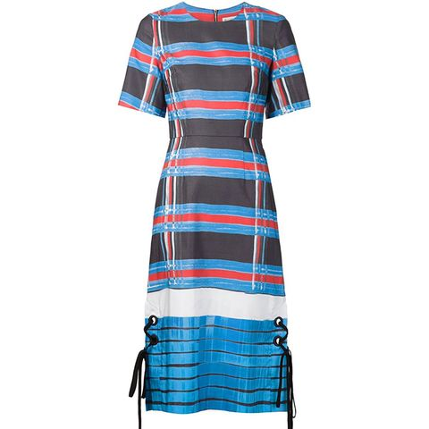 Lace-Up Detail Striped Dress