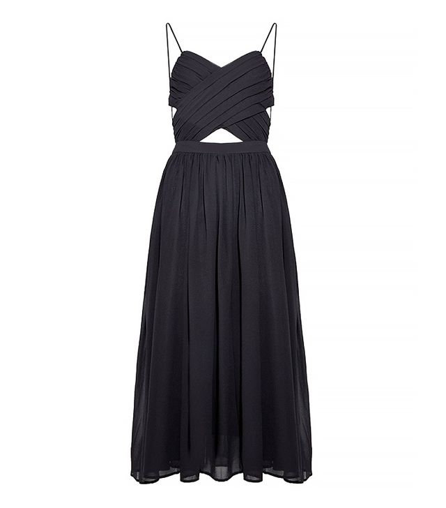 Pixie Market Black Lace Up Floaty Midi Dress