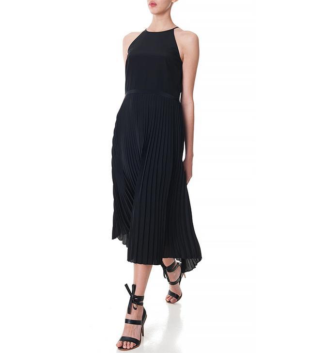 Tibi Silk Pleated Halter Dress