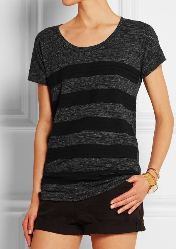 Burberry Brit Chiffon-Paneled Jersey T-Shirt