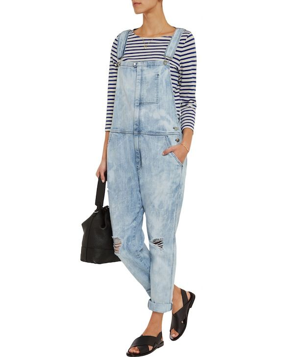 Current/Elliott The Ranch Hand Distressed Stretch-Denim Overalls